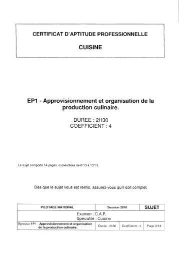 Sujet cap cuisine 2016 id es d 39 images la maison - Sujet examen cap cuisine ...