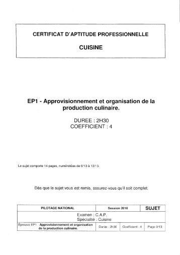 Cap restaurant ep1 2010 sujet et corrig sbssa for Sujet examen cap cuisine corrige