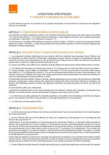 conditions spécifiques tv payante d'orange en outre-mer