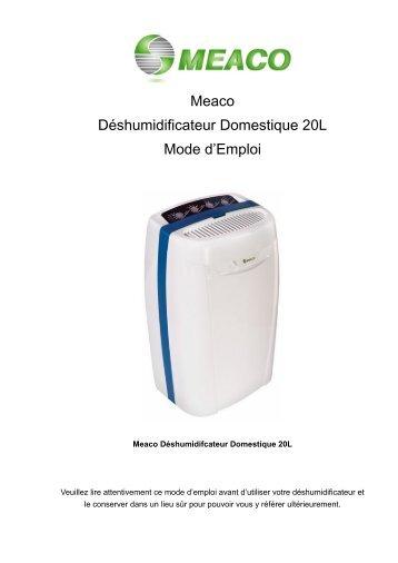 """Meaco Déshumidificateur Domestique 20L Mode d""""Emploi"""