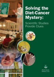 Solving the Diet-Cancer Mystery: - World Cancer Research  Fund
