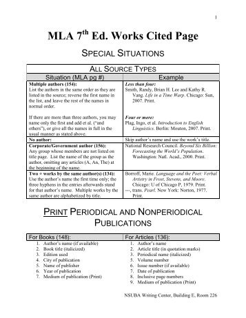 works cited page â mla print resources