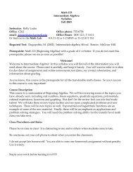 Math 123 Intermediate Algebra Syllabus Fall 2003 Instructor: Kelly ...