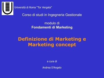 Definizione di Marketing e Marketing concept
