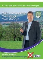 Die Broschüre Mai 2008 von Fred Dettmar zur - UWG Reinhardshagen