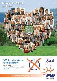 Wahlbroschüre Lesen - UWG  Reinhardshagen