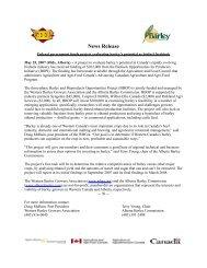 News Release - Western Barley Growers Association