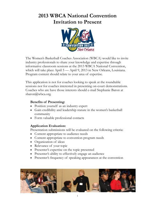 2013 WBCA National Convention Invitation to Present