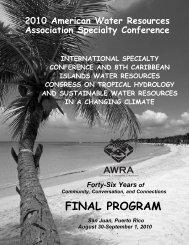 FINAL PROGRAM - American Water Resources Association