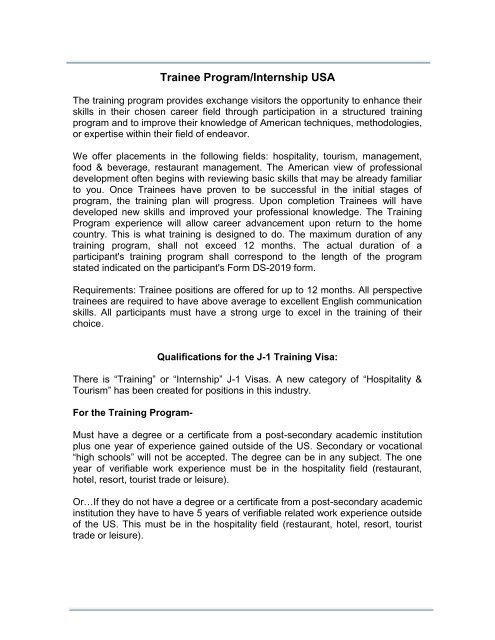 Trainee Program/Internship USA - Wayout