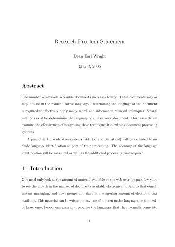 Research Problem Statement