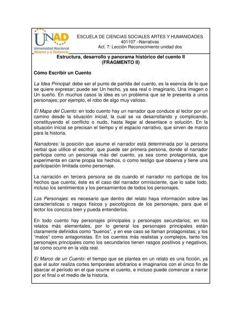 Estructura Desarrollo Y Panorama Histã Rico Del Cuento Ii