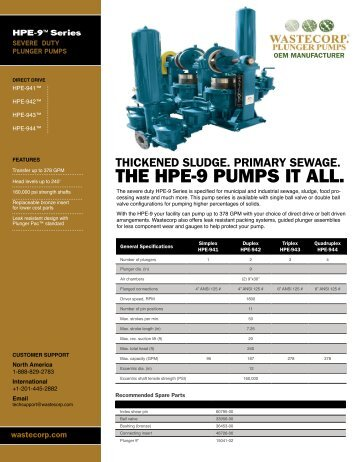 HPE 81/941 Specs - Wastecorp Pumps