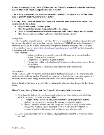 Worksheets Kinetic Molecular Theory Worksheet kinetic molecular theory gas laws oakland schools lesson plan intro demo2013 pdf phet