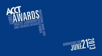 Download the 2013 ACCT Awards brochure and entry form.