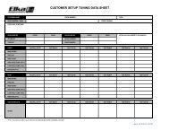 CUSTOMER SETUP TUNING DATA SHEET - Elka Suspension