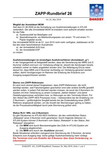 ZAPP-Rundbrief 26 - DAKOSY Datenkommunikationssystem AG