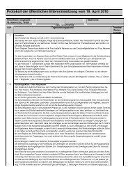 Protokoll der öffentlichen Elternratssitzung vom 19. April 2010