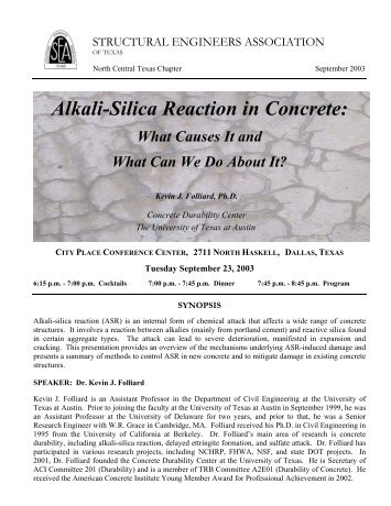 Alkali-Silica Reaction in Concrete: - SEAoT