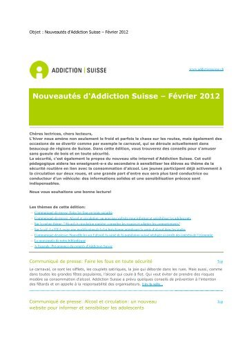 Nouveautés d'Addiction Suisse – Février 2012 - Iumsp.ch