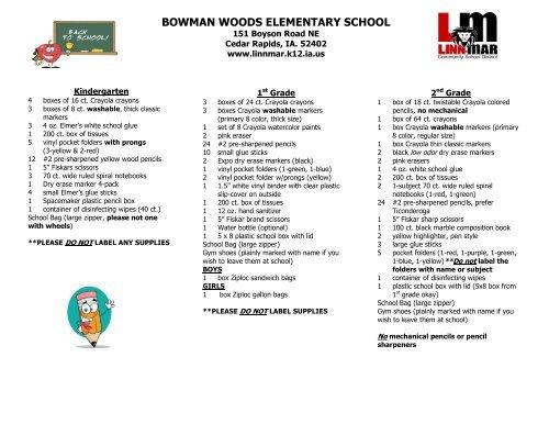 K-5 Supply List - Linn-Mar Community School District