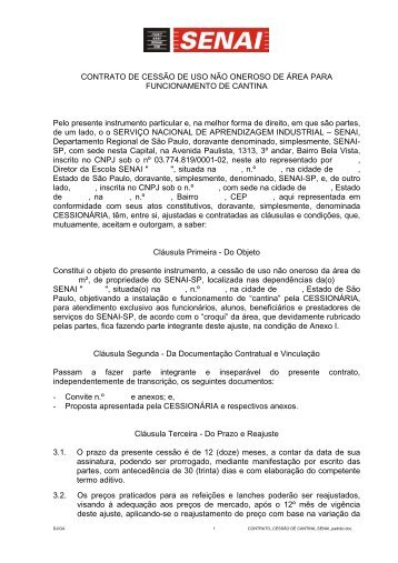 CONTRATO DE CESSÃO DE USO NÃO ONEROSO DE ... - Senai