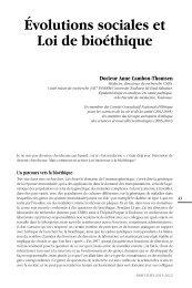 Évolutions sociales et Loi de bioéthique - Plateforme societal