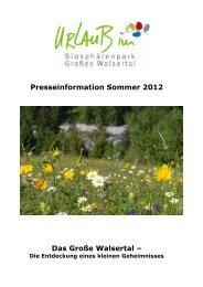 Sommer 2012 - Biosphärenpark Großes Walsertal