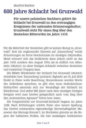 """600 Jahre """"Schlacht bei Grunwald"""" — und kein Ende - Selbstverlag ..."""