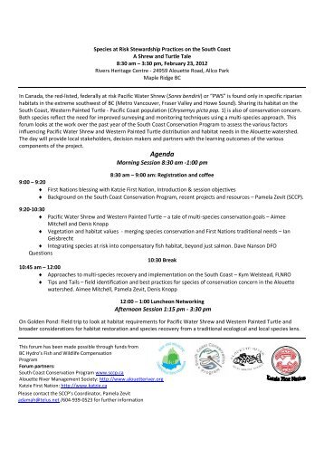 Workshop Agenda - South Coast Conservation Program