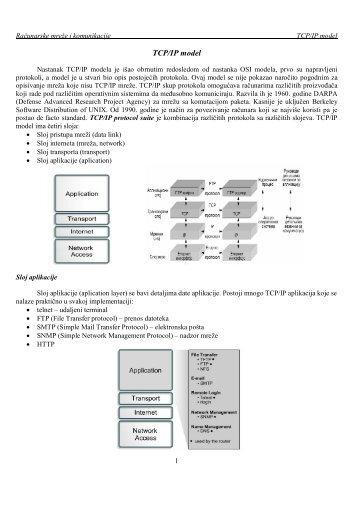 """TCP/IP model - """"Mihajlo Pupin"""" Kula"""