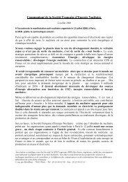 Communiqué de la Société Française d'Energie Nucléaire - SFEN
