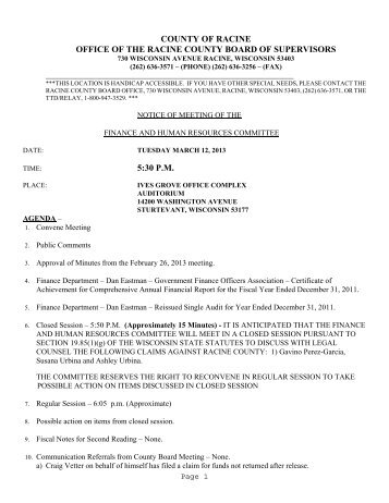 Agenda for Meeting on March 12, 2013 - GORacine.org