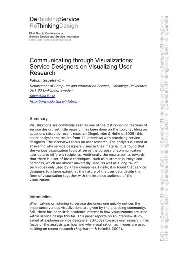 Communicating through Visualizations: Service Designers on ...