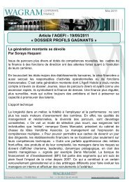 Article l'AGEFI - 19/05/2011 « DOSSIER PROFILS GAGNANTS »
