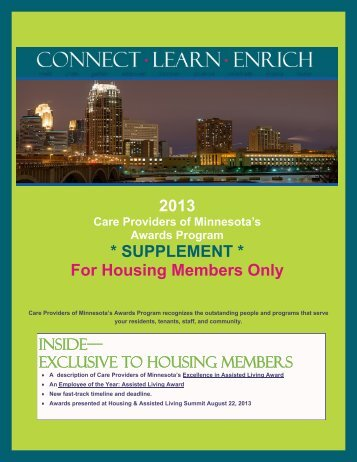 2013 Awards Program: Housing Members Supplement