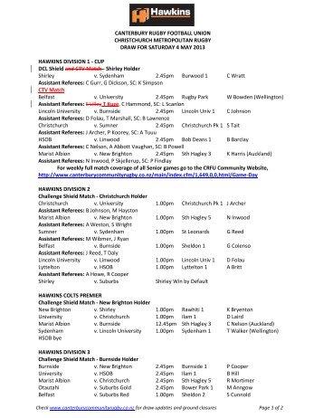 CANTERBURY RUGBY FOOTBALL UNION ... - AllTeams