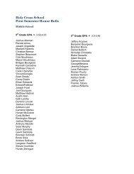 Holy Cross School First Semester Honor Rolls