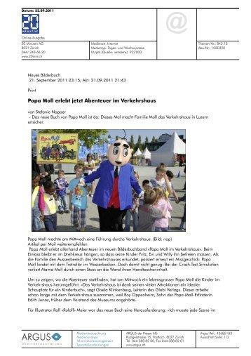 Papa Moll erlebt jetzt Abenteuer im Verkehrshaus - Globi Verlag
