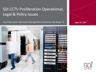 SDI CCTV Proliferation Operational, Legal & Policy Issues
