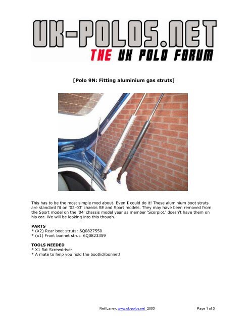 Polo 9N: Fitting aluminium gas struts] - VW PolO Club