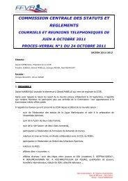 Juin à Octobre 2011 - Extranet FFVB