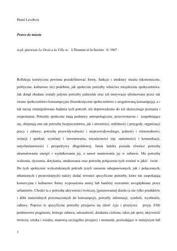 Henri Levebvre Prawo do miasta wyd. pierwsze Le Droit a la Ville w ...