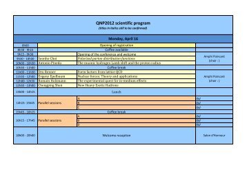 QNP2012 scientific program