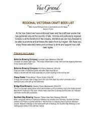 REGIONAL VICTORIAN CRAFT BEER LIST - Vue Grand Hotel