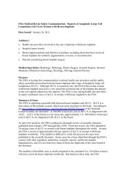 FDA Medical Device Safety Communication: Reports of ... - IPRAS