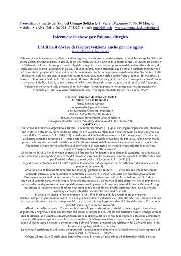 Scuola - Sentenza Tribunale di Roma per assistenza bambino…