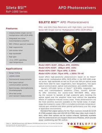 Siletz BSI™ APD Photoreceivers - Voxtel
