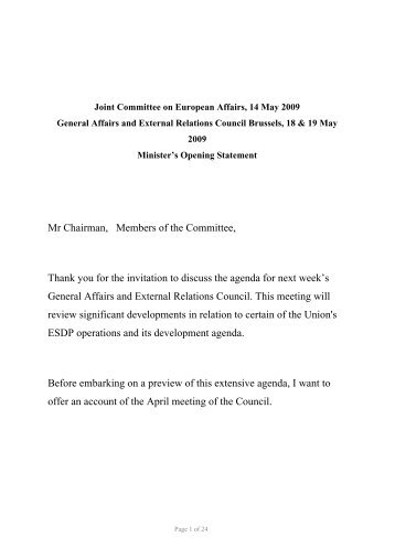 Joint Committee on European Affairs, Brussels 14 May 2009