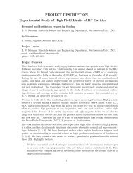 Experimental Study of High Field Limits of RF Cavities - University of ...